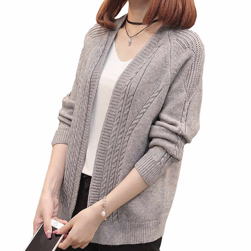 Women's Autumn Winter Cardigan Sweater Women 2019 New Long Sleeve Hollow Knitted Female Outerwear Coat Sweaters Jacket Top L88