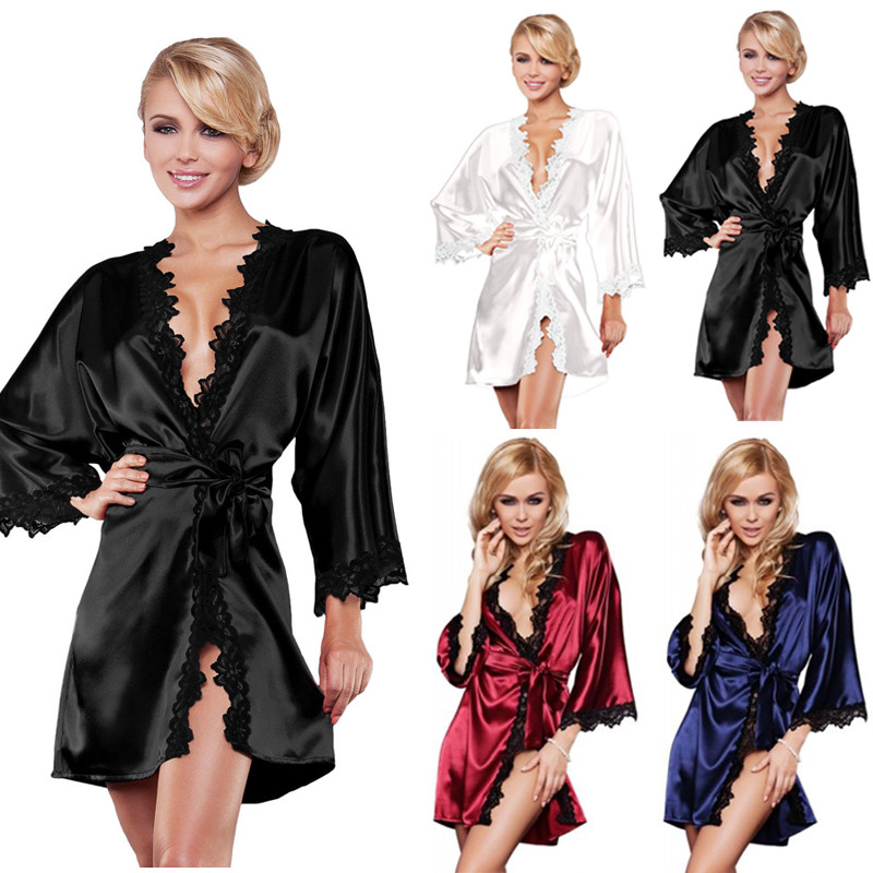 Women Sexy Sleepwear   Nightgown   Satin Silk Babydoll   Sleepshirts   Lace Deep V neck Robes Sleep Dress Skirt