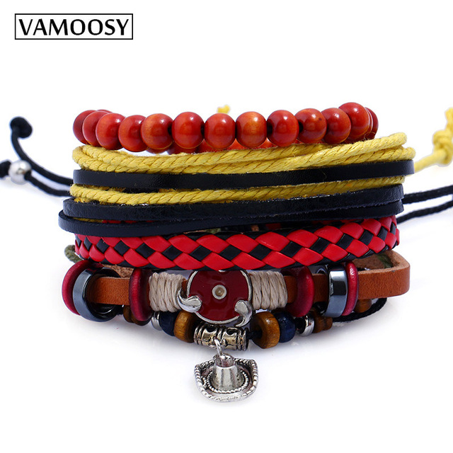 f887f0f6b08 VAMOOSY Tibetan Buddhist Love Lucky Charm Tibetan leather Bracelets &  Bangles For Women Men Handmade Knots Rope Bracelet DIY