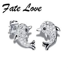 Fate Love New Fashion Dazzle Tiny Beads Earrings Woman Jewelry Cute Animal Dolphin Shape White Gold