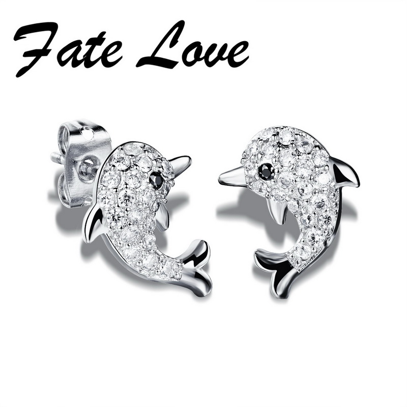 New Fashion Crystal font b Earrings b font For Woman Jewelry Cute Animal Dolphin Shape White