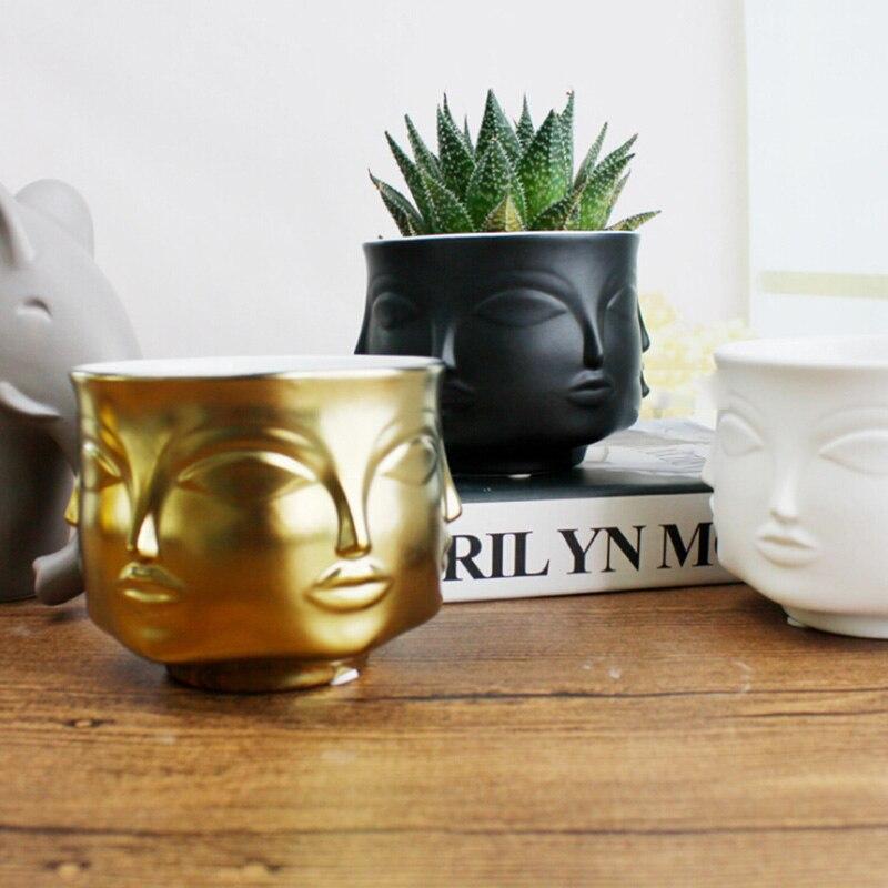 Nordic Potted Plants Flower Pot Man Face Flower Vase Home Decoration Accessories Ceramic Vase for Flower Succulents Pot Planters