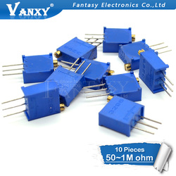 10pcs 3296W 3296 50 100 200 500 ohm 1K 2K 5K 10K 20K 50K 100K 200K 500K 1M ohm 103 100R 200R 500R Trimpot Trimmer Potentiometer