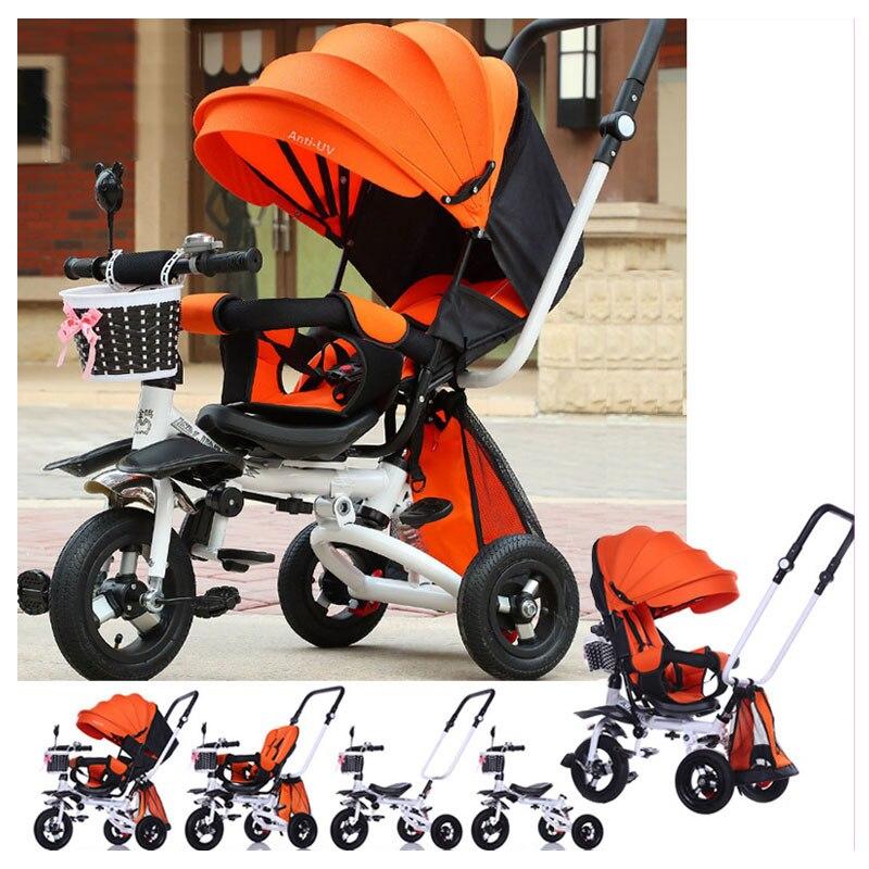 Ultra Baby Carriage Anti UV Steel Three Wheels Stroller Folding Infant Toddler Swivel Seat Baby Stroller Trike Pushchair Bicycle baby stroller folding rocking horse pushchair infant stroller gold frame