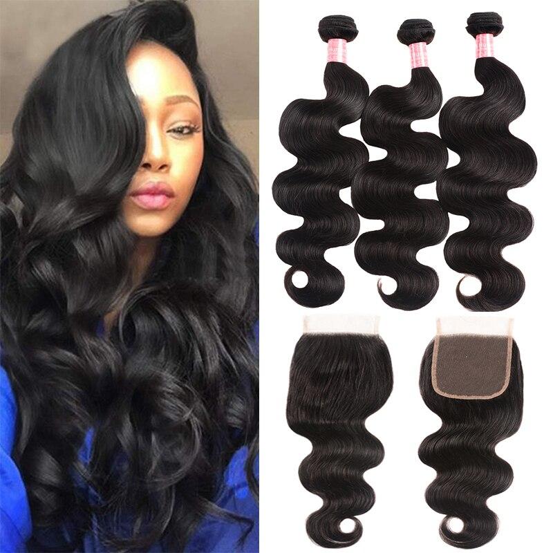 Brazilian Body Wave 3 Bundles with Closure Virgin Human Hair Bundles with Closure Natural Color Weave Bundles Hair Eextension