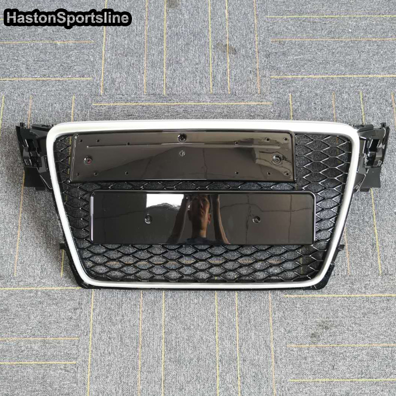 A4 B8 Matt Silver Frame Front Bumper Mesh Grill Grilld For Audi A4 S4 RS4 2009