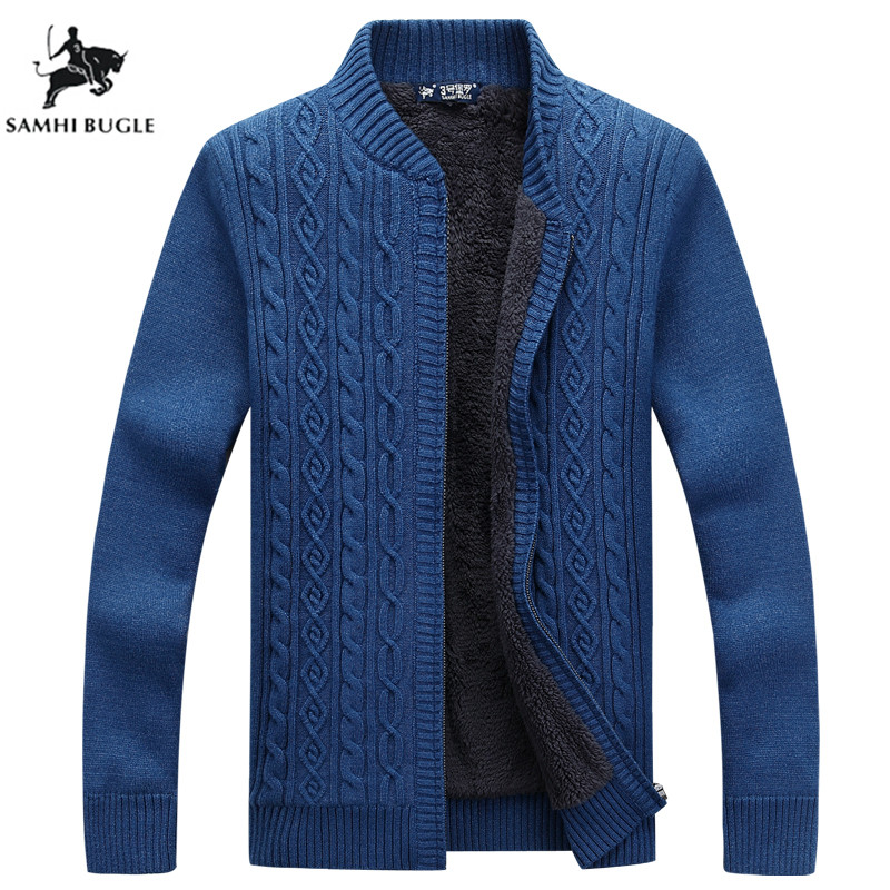 Brand Sweater Men Cardigan Male Fleece Standard Wool Sweater Men Pull Homme Cardigan Men Fashion Outwear Coats Size 3XL