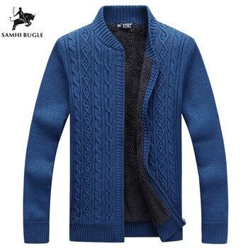 c6d8796d1 Homens marca Camisola Homens Suéter de Lã Cardigan Masculino Fleece Padrão  Puxar Homme Cardigan Homens Da Moda Outwear Coats Tamanho 3XL
