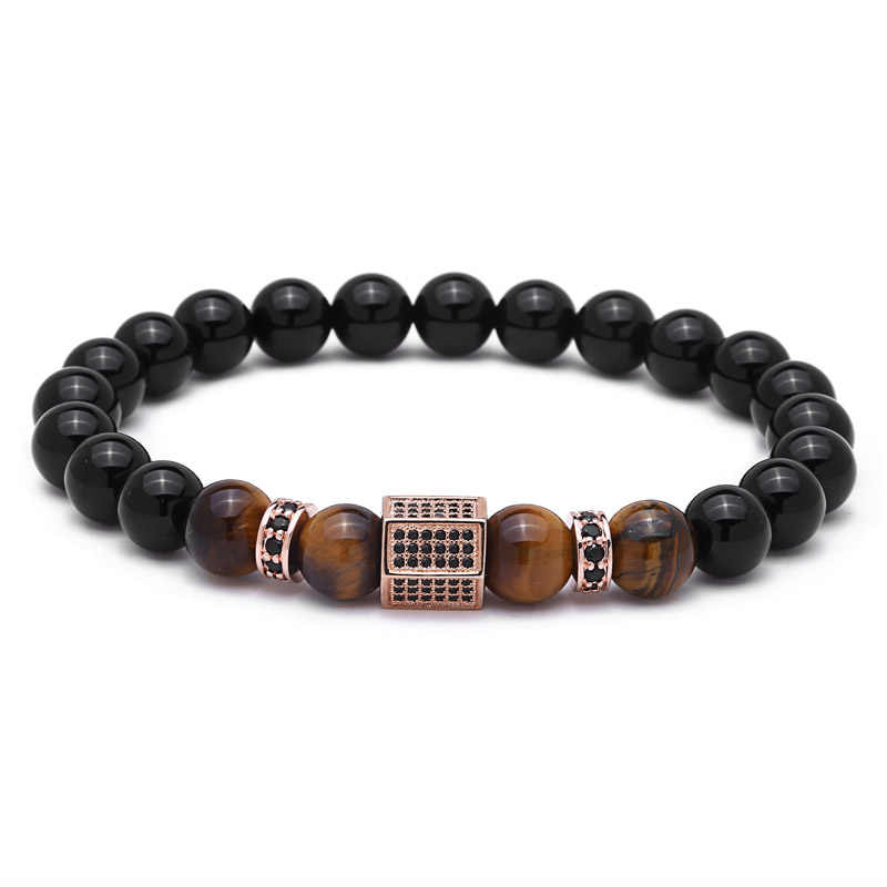 Mcllroy Charms Armband Mannen Pave Instellen Black CZ Hexagon Natuursteen Kralen Armbanden en Armbanden pulseira masculina mannen sieraden