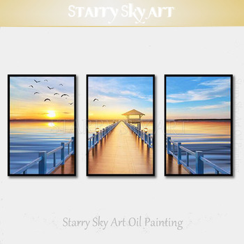 Artist Hand-painted High Quality Modern Wall Art 3 Piece Set Landscape Oil Painting on Canvas Sunrise Seaside Oil Painting