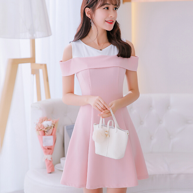 Korean Summer dress women clothing cute slim show thin sleeveless bodycon dress fashion patchwork Pea green pink dress Vestidos  貓 帳篷