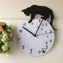Horloge murale intelligente en acrylique, petit mouvement de chat noir, décoration artistique à Quartz pour la maison, nouveauté 28x30CM