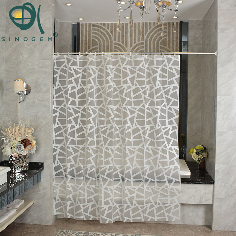 sinogem simple bath curtain white geometric printed protection peva shower curtains plastic