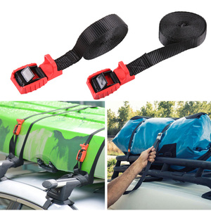 Image 1 - 1 Pair 4.5M Car Roof Rack Tie Down Straps Rope for Outdoor Camping Canoes Kayaks Surfboard Aluminum Zinc Buckle