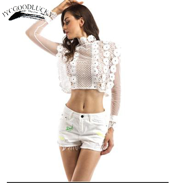 Sexy white lace flower blouse shirt hollow out mesh transparent sexy white lace flower blouse shirt hollow out mesh transparent blouse blusas women long sleeve blouse mightylinksfo