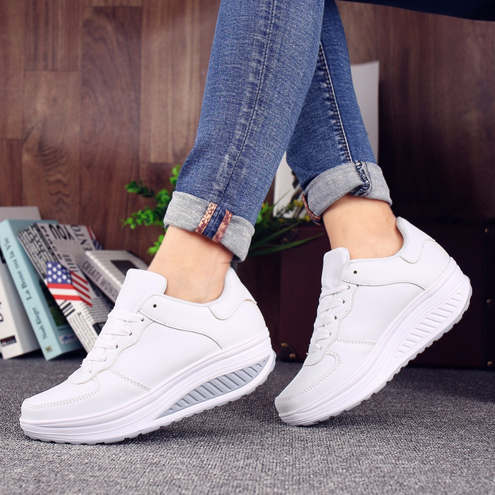 Women Sneakers White Platform Trainers Summer Wedges Casual Shoes Basket Femme Lace Up Zapatillas Deportivas Mujer 2017brand sport mesh men running shoes athletic sneakers air breath increased within zapatillas deportivas trainers couple shoes