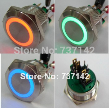 цена на ELEWIND 22mm RGB Three LED color Momentary push button switch(PM221F-11E/RGB/12V/S 4pins for led)