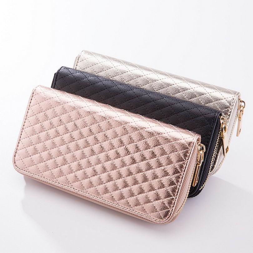 KANDRA Women Single Zipper Rose Silver Rhombus Plaid Wallet 2019 Long Wallet Money Coin Pocket Card Holder Female Wallets Purse