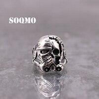SOQMO 100% 925 Silver Predator Elders Ring Skull Punk Adjustable Ring for Men Gifts Heavy Metal Movie Jewelry SQM050