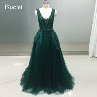 Actual Image 2017 V Neck Sexy Evening Dresses Long Tulle Appliques Dark Green Prom Dresses With
