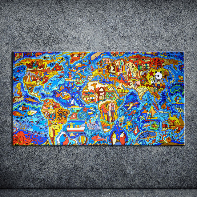Animal world map painting picture on canvas kicthen decor poster animal world map painting picture on canvas kicthen decor poster park landscape wall sticker for living gumiabroncs Choice Image