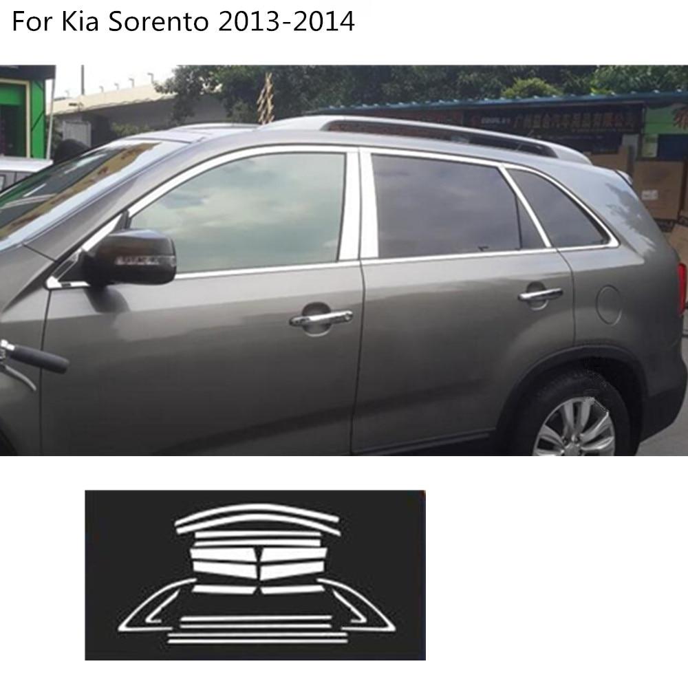 Car styling stainless steel glass window garnish pillar middle column trim hoods molding parts hoods for Kia Sorento 2013 2014
