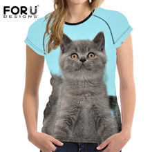 FORUDESIGNS Womens Brand T-shirt 2018 Summer t-shirt Casual Young Student Girl Femme Tops 3D Cat Print O-Neck T Shirt Plus Size