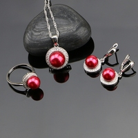 925 Sterling Silver Jewelry Sets Red Simulated Pearls With White Beads Women Wedding Earrings Pendant Ring