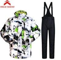 Wild Snow Ski Suit Men Outdoor Winter Warm Waterproof Ski Jackets Pants Skiing Snowboarding Jackets Winter Ski Set Sportswear
