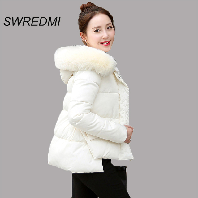 6f7ca4479397b Women s Clothing Milk White Winter Coat Thick Girl Parka Short Outerwear  Cotton Jacket Ladies Clothing Artificial Fur Collar