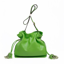 Women Bucket Bag Women's Blue Casual Genuine Leather Purses and Handbag High Quality Ladies Tote Bags