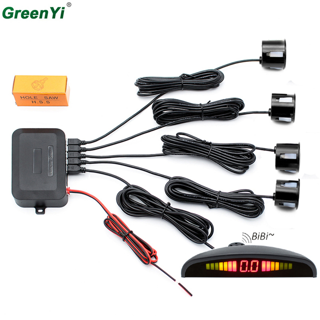 GreenYi P300 10PCS Car LED Parking Sensor Reverse Backup Radar System with Backlight Display + 4 Sensors and Audible Alarm