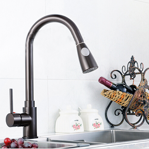 L16087 Deck Mounted Black Color Hot and Cold Water Brass Material of High Quality Pull Out Kitchen FaucetL16087 Deck Mounted Black Color Hot and Cold Water Brass Material of High Quality Pull Out Kitchen Faucet