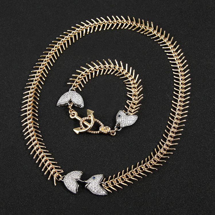 Gold-plated copper set auger fishbone necklace bracelet