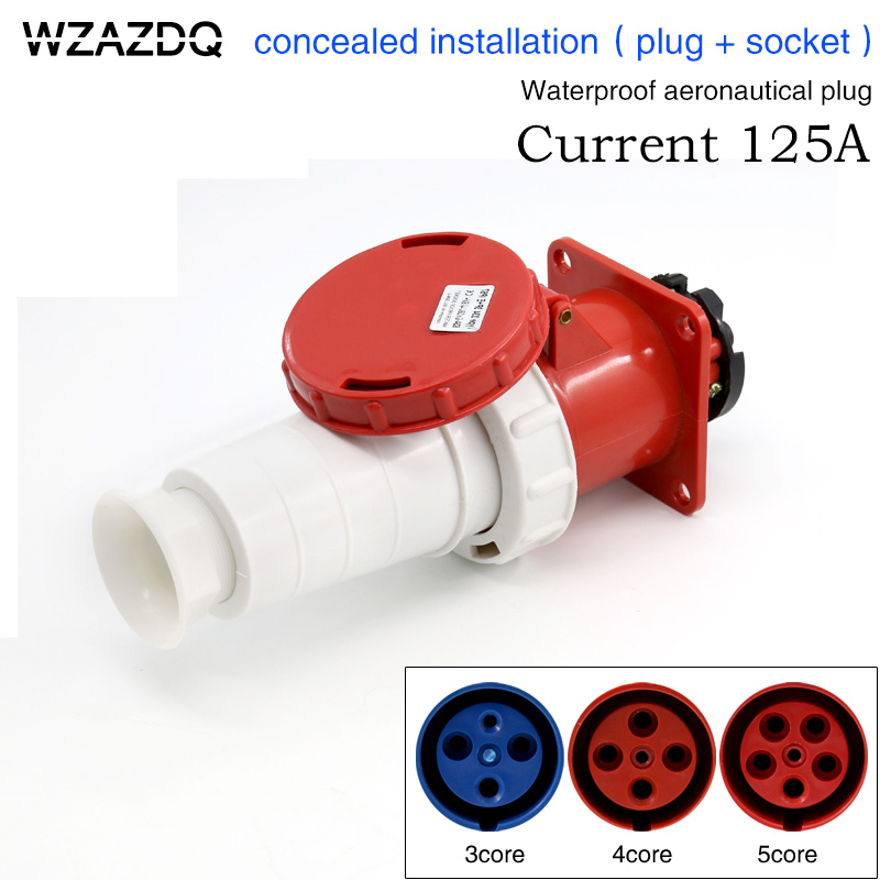 Industrial aviation plug socket 3 core 4 core 5 core 125A connector concealed installation aviation plug waterproofIndustrial aviation plug socket 3 core 4 core 5 core 125A connector concealed installation aviation plug waterproof