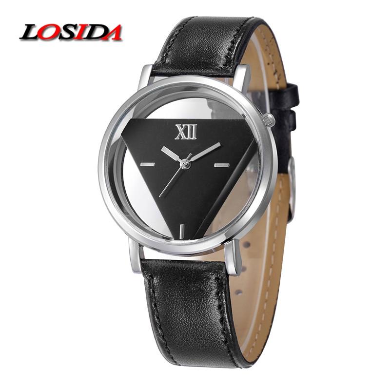 Losida New Fashion Pria Olahraga Kulit Asli Jam Tangan Segitiga - Jam tangan wanita