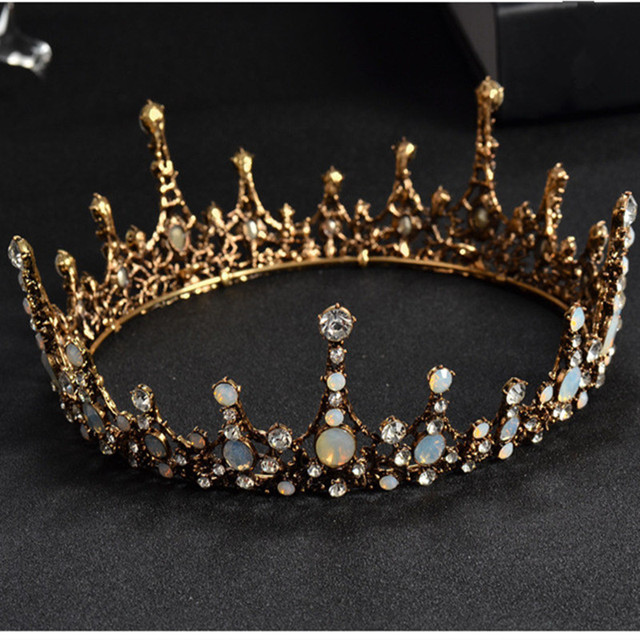 DIEZI  Baroque Vintage Crystal Wedding Bridal Tiaras Hairband Headpiece Black Princess Pageant Crown Bridal Hair Accessories