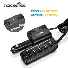 Rocketek Quick Car-Charger, 7 USB Smart 11A Car Charger QC2.0 USB Socket Car Splitter for iphone samsung and htc smart phone