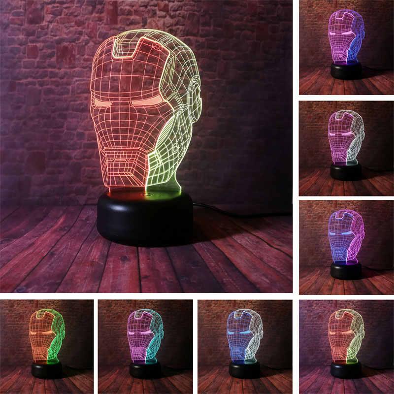 Máscara Homem De Ferro Modelo Figma 3D Ilusão NightLight LED Flash de Luz Da Lâmpada de Mesa Colorido Misturado Avengers Iron Man Figura Capacete brinquedos