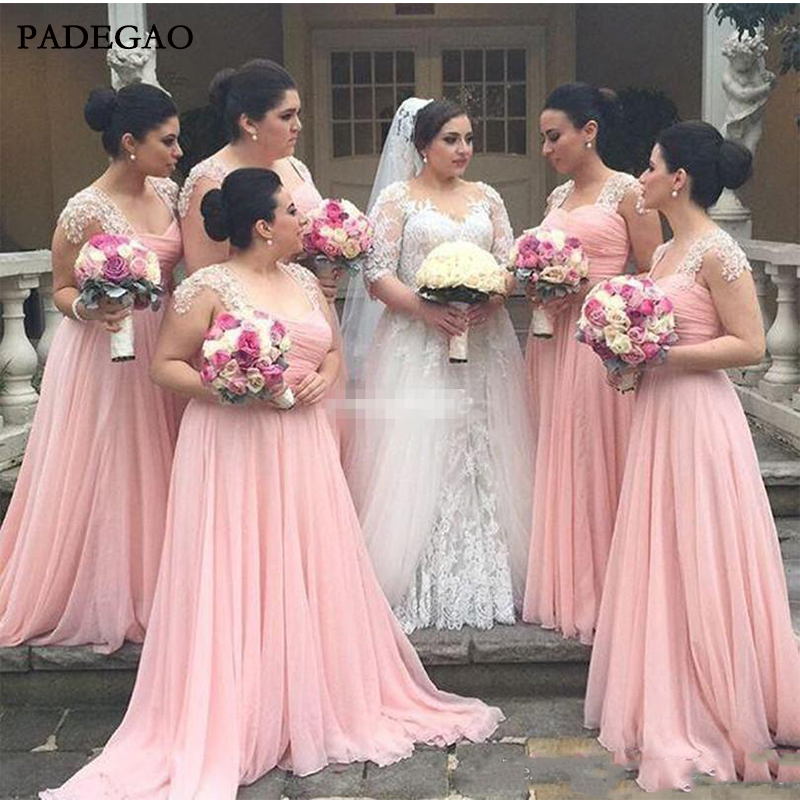 Pink In StockA Line   Bridesmaid     Dresses   Sweetheart Long Chiffon   Bridesmaid   Gowns For Young Girls with Lace Pleat Wedding Guest
