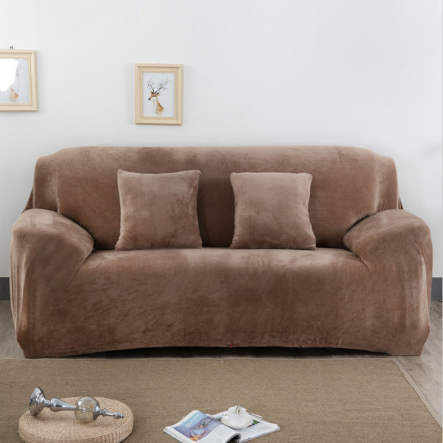 Flannel Solid Sofa Cover Elastic Slipcover For Sectional Single L Shaped Loveseat Couch Case