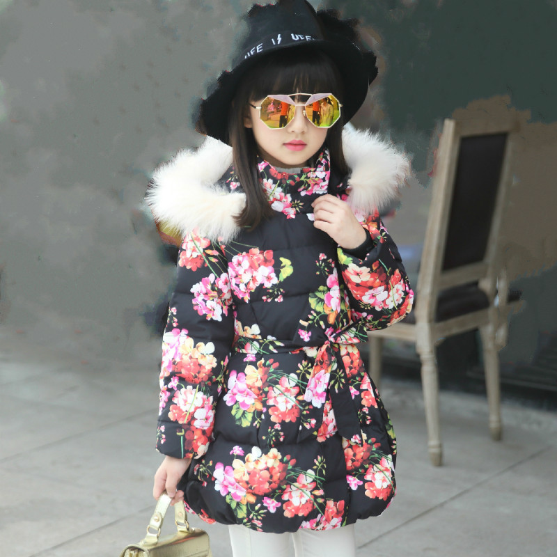 The new children's jacket and the virgin Tong in the long winter floral jacket thick sweet coat 2017 autumn and winter new women in the long paragraph thick cotton jacket 3399