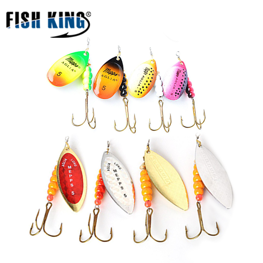 FISH KING 4Pcs/Lot Mepps Spinner Bait Size 1#2#3#4#5# Fishing Lures Spoon With Treble Hook Hard Fake Fish Metal Lures Set 12pcs set hard metal fishing lures jig spinner bait with blades fly jigging lure hooks spoon spinnerbait lead fish free shipping