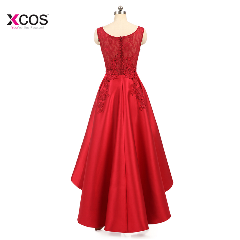 3f66cb89d Elegant 2018 Scoop Neck Sleeveless Red Lace High Low Prom Dresses Satin A  Line Formal Party A-Line Floor Length Prom Dress