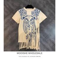 Vintage Printed Women T Shirt Tassel Hems Khaki Short Sleeve Tee Shirt Tops