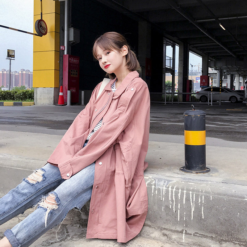 British Style Windbreaker Female Long Section Spring Autumn Thin Section Loose Large Size Jacket Pink Straight Outerwears f1261