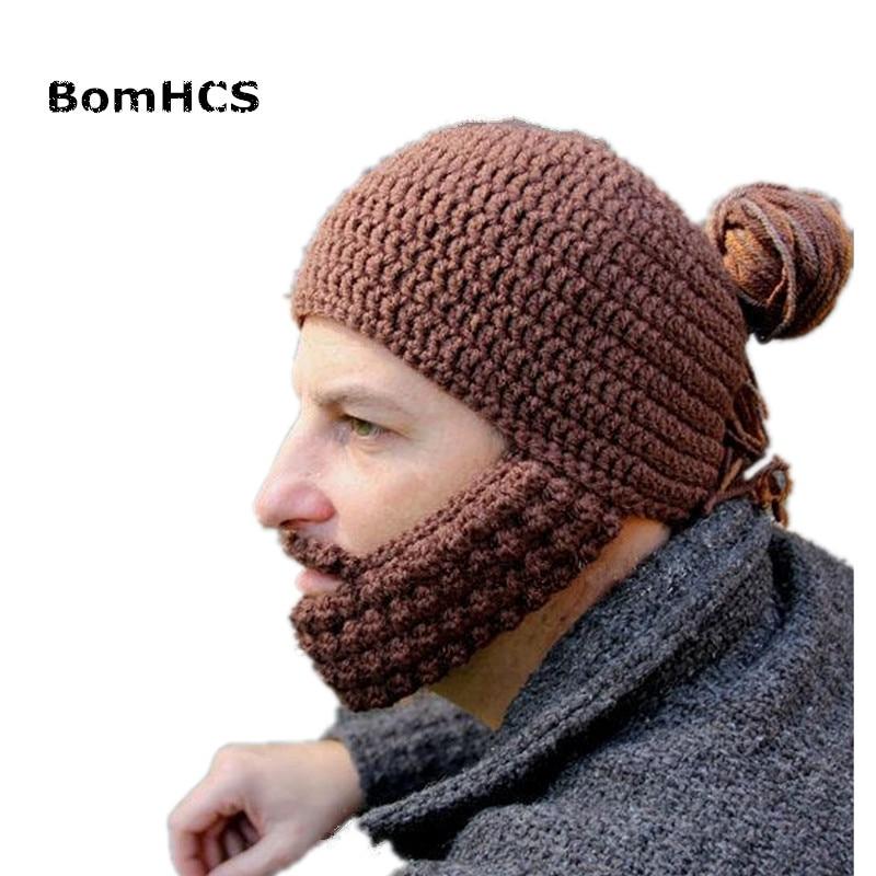 Bomhcs Novetly Men's Beard Braid Wig Beanie With Mask Halloween Party Gift 100% Handmade Knit Hat