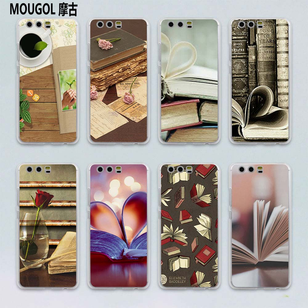 MOUGOL reading books design transparent hard case cover for Huawei P10 P9 Plus P8 P9 lite Mate S 9 8 ...