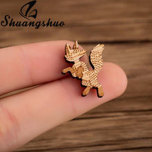 Shuangshuo Dancing Fox Pin Badge Wood Brooch Minimalist Brooches Pins for Women Lapel Pin Cute Wooden Brooches Jewellery Gifts(China)