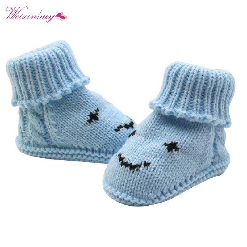 Newborn Baby Knitted Wool Handmade Shoes Smiley Face Snow Warm Boots 0-6M TQ